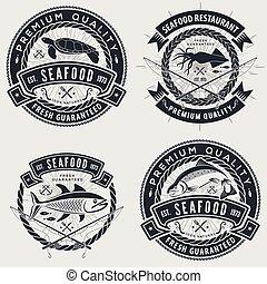 gasthaus, abzeichen, satz, emblem, menükarte, meeresfrüchte, design, logo, etikett, oder, element.