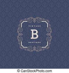 gasthaus, hotel, kleiderladen, mode, laden, elements., monogram, café, verzierung, calligraphic, elegant, flourishes, ritterwappen, design, schablone, logo, kaufmannsladen, usw., identität
