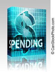 gasto, caja, finanzas, ilustración, paquete