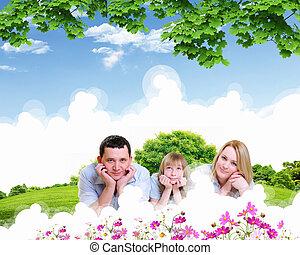 gasto, familia feliz, juntos, tiempo