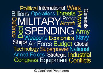 gasto, militar, palabra, nube