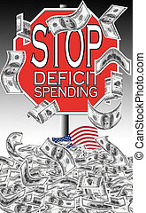 gasto, parada, déficit