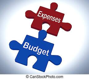 gastos, presupuesto, rompecabezas, exposiciones, compañía, teneduría de libros, y, balance