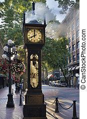 gastown, mattina, vancouver, orologio vapore