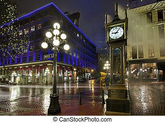 gastown, notte piovosa, orologio vapore