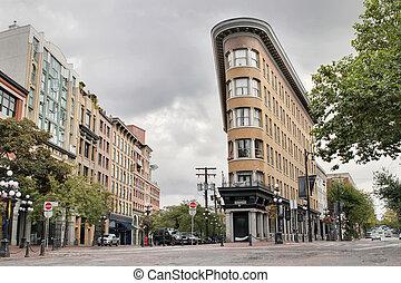 gastown, stavení, dějinný, vancouver, bc