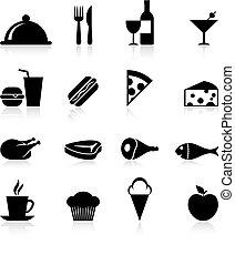 gastrónomo, alimento, conjunto, icono
