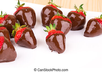 gastrónomo, cubierto, fresas, chocolate