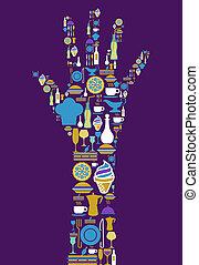 gastrónomo, icono, conjunto, mano humana