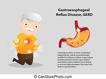 Old man suffering from stomach painful or Acid Reflux or Heartburn, Gas, Bloating, Belching and flatulence. Caused by gastrointestinal viral infections. gastrointestinal system disease. vector, illustration