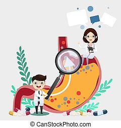 The doctor is examining acid refulx. gastric ulcer, acid in the stomach. vector, illustration.