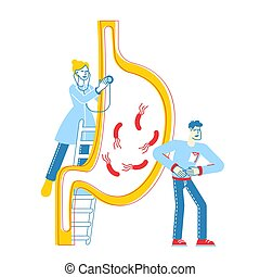 Gastroenterology Concept. Doctor Character Stand on Ladder ...
