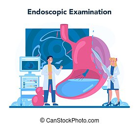 Gastroenterology doctor concept. Idea of health care and stomach treatment. Doctor examine internal organ. Endoscopic examination. Vector illustration