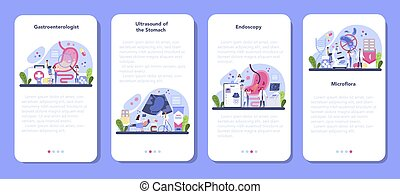 Gastroenterology doctor mobile application banner set. Idea of health care and stomach treatment. Doctor examine internal organ. Endoscopic and ultrasound examination. Vector illustration