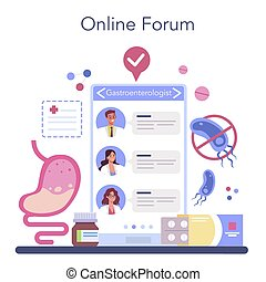 Gastroenterology doctor online service or platform. Idea of health care and stomach treatment. Doctor examine internal organ. Online forum. Vector illustration
