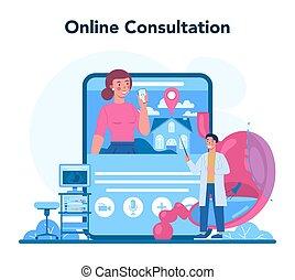 Gastroenterology doctor online service or platform. Idea of stomach treatment. Doctor examine internal organ. Online consultation. Vector illustration