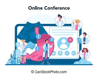 Gastroenterology doctor online service or platform. Idea of stomach treatment. Doctor examine internal organ. Online conference. Vector illustration