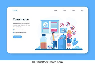 Gastroenterology doctor web banner or landing page. Idea of health care and stomach treatment. Doctor examine internal organ. Endoscopic and ultrasound examination. Vector illustration