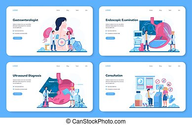 Gastroenterology doctor web banner or landing page set. Idea of health care and stomach treatment. Doctor examine internal organ. Endoscopic and ultrasound examination. Vector illustration