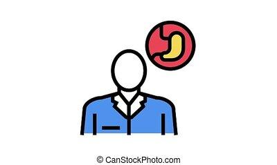 gastroenterology medical specialist animated color icon. gastroenterology medical specialist sign. isolated on white background