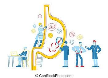 Gastroenterology Medics Characters at Huge Stomach. Man ...