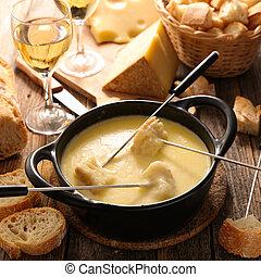 gastronomia, ser, fondue, francuski