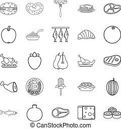 Gastronomic hobby icons set, outline style - Gastronomic...