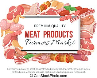 Gastronomic meat products banner menu design. Vector icons...