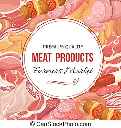 Gastronomic meat products menu design. Vector icons steak ,...