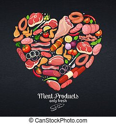 Gastronomic meat products with vegetables and spices poster...