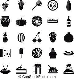 Gastronomic pleasure icons set, simple style - Gastronomic...