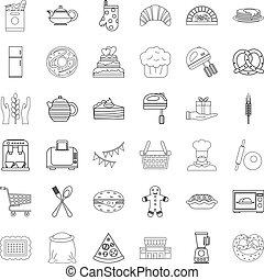 Gastronomy icons set, outline style