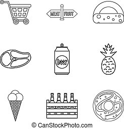 Gastronomy market icons set, outline style
