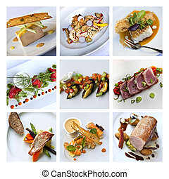 Gastronomy and French dishes on a collage