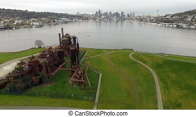 Gasworks Park Lake Union Seattle Waterfront Downtown Skyline...