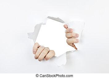 gat, papier, door, het scheuren, handen