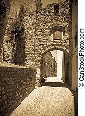 gata, gammal, foto, stad, årgång, katalan, ordinär