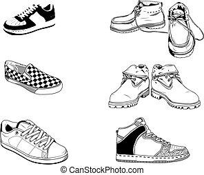 gata, skor, män