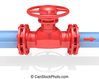3D rendered gate valve isolated on white background