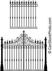 Gate and Fence - Wrought iron gate and modular fences