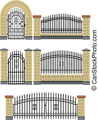 Gate and fences with brick columns - Vector gate, wicket and...