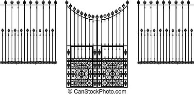 wrought iron ornamental gate and fences illustration