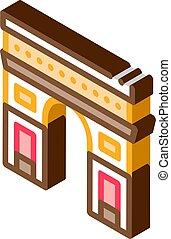 gate arch saint denis icon vector. isometric gate arch saint denis sign. color isolated symbol illustration