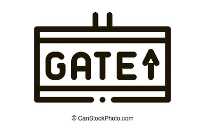 Gate Arrow Direction Tablet Icon Animation. black Airline And Airport Information Way Tablet animated icon on white background
