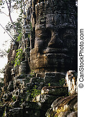 Gate- Cambodia - Gopura (Victory) gate to the walled city of...
