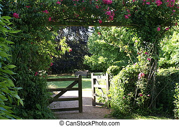 Gate entrance in the old English garden