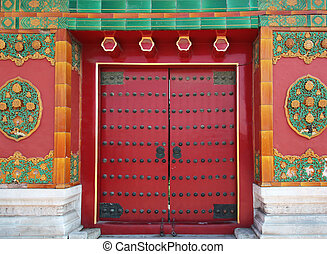 a gate in the Forbidden City, Beijing China