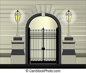 Gate - An iron gate set on a large concrete wall