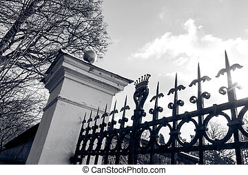 Gate in black and white
