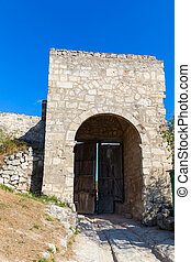 Medieval cave city-fortress Chufut-Kale in the mountains